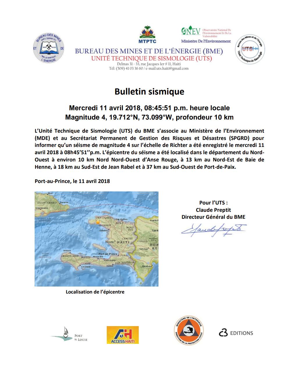 Bulletin sismique du mercredi 11 avril 2018 minist re de for Le ministere de l interieur